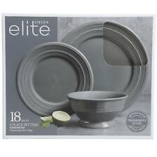 Gibson Elite 18-Piece Transparent Glaze Barberware Dinnerware Set in Gray
