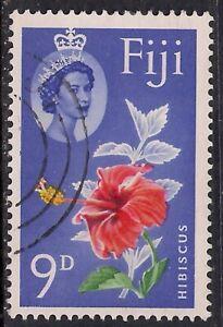 Fiji 1962 - 67 QE2 9d Hibiscuc Flower used SG 315 ( D220 )
