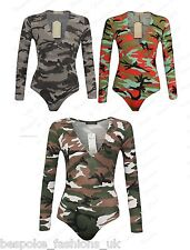 Ladies Womens Long Sleeve V Neck Army Camouflage Bodysuit Leotard Top Plus 8-22