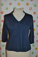 WORTHINGTON blue  chic TOP BLOUSE with scarf womens small Petite NWT