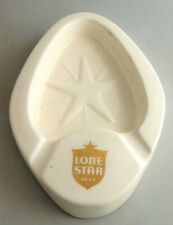 Vintage White Ceramic Lone Star Beer Ashtray National Beer of Texas