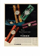 VINTAGE 1959 TIMEX MEN'S WOMENS' WATCHES LEATHER BRACELET COLORFUL AD PRINT