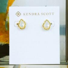 NWOT Kendra Scott Tessa Ivory Pearl Stud Earrings Gold Tone