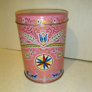 Vintage ~ PA Dutch Candies Tin ~ Amish Print Mt Holly Springs Pennsylvania Pink