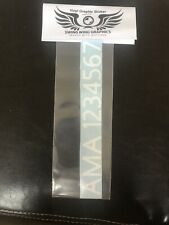"""10- 1"""" Custom FAA or AMA # permanent transfer vinyl RC Airplane Drone ANY COLOR!"""