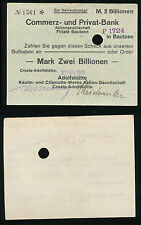 BAUTZEN 2 Billion Mark  27. Nov. 1923 Sachsen Notgeld  Rheinland  Inflation