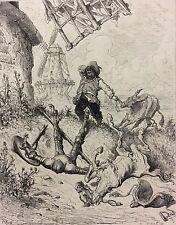 Gustave Doré gravure Don Quichotte Sancho Panza  XIX ème H Pizan moulin
