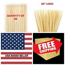 "40 Bamboo Marshmallow S'mores Roasting Stick 36"" 5mm Thick Extra Long Heavy Duty"