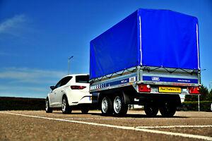 Car Trailer Twin Axle 261 cm x 144 cm 750 kg with canopy H - 140 cm