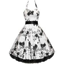 50er Jahre Rockabilly Kleid Vintage Retro Fifties Blumen FLOWER WHITE (OHNE)