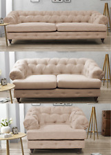 New Quality Roy Royal Imperial 3 + 2 Seater Chesterfield Sofa Beige Fabric Linen