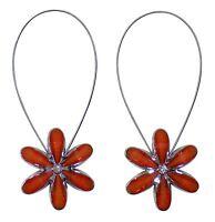 2 X Magnetisch Blumenmuster Raffhalter Orange Silber Strass Vorhang Voiles Netze