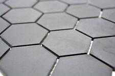 Mosaïque carreau céramique hexagone noir non vitré mur 11B-0304-R10_b   1 plaque