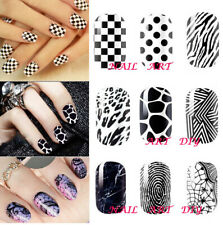 14 Nail Patch-Adesivi Smalti-Stickers Bianco-Nero Decorazione Unghie-Manicure!!!