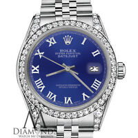 Rolex 26mm Datejust Blue Silver Roman Numeral Dial Stainless Steel Ladies Watch