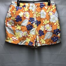 brooks brothers country club Swim Trunks Mens Size XL Orange Floral Print