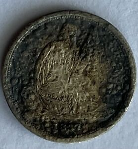 1837 Seated Liberty Dime About Fine No Stars Mintage 682,500 Uncertified