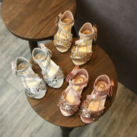 Toddler Kids Baby Girls Bowknot Bling Sequins Single Princess Shoes Sandals