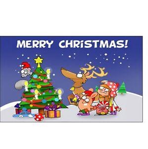 Merry Christmas Flag 5 x 3 FT - Reindeer Tree Presents Scene