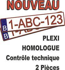 2 plaques d'immatriculation belge homologuée en plexi