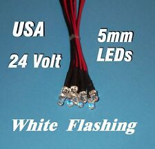 10 FLASHING LEDS 5mm PRE WIRED 24 VOLT WHITE 24V BLINK