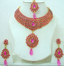 INDIAN BRIDAL KUNDAN PINK & GOLD DIAMANTES SET