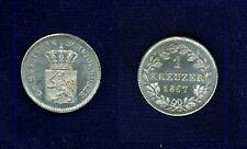 GERMANY HESSSE-DARMSTADT 1867  1 KREUZER SILVER COIN BRILLIANT UNCIRCULATED