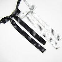 Women Long Wedding Banquet Polka Dots Adjustable Bow Tie Necktie (Black/White)