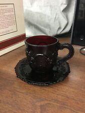 Avon Cape Cod Ruby Red Cup & Saucer Still in Original Box