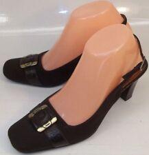 ETIENNE AIGNER Women's US 7.5M Brown Fabric suede Slingback Buckle work Heels