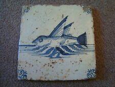 Antique Delft tile depicting sea monster  21/90B