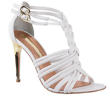 """Moda In Pelle """"LEAH"""" Gold Stiletto Heel White Strappy Leather Sandals Size UK 7"""