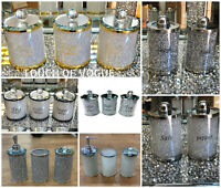 CRUSHED DIAMOND SILVER FILLED SHAKERS TEA COFFEE SUGAR CANISTERS JARS BATHROOM