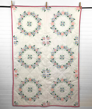"""Handmade Crib Throw Quilt Finished Completed Floral Wreath Cross Stitch 34x50"""""""
