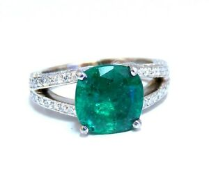 5.30ct Natural Cushion Emerald Diamonds Ring Platinum Split Shank Fine Green