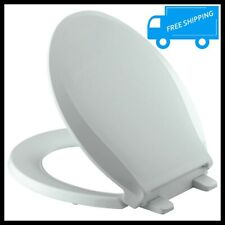 Round Toilet Seat Close Front Ice Gray Plastic Slow Close Lid Grip Tight Bumper