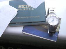 Vintage Seiko Premier Kinetic SMA165 Mens Wrist Watch, 2001, Docs, New Capacitor