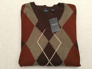 ARROW Men's Multi-Colored Diamond/Argyle V-Neck L/S All Cotton Sweater, Sz. XXL