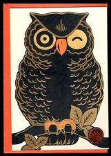 Halloween Card Owl Winking VINTAGE LOOK  Branch - GOLD SHINE - Greeting Card NEW