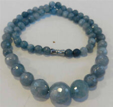 "6-14mm Brazilian Aquamarine Faceted Gems Round Beads Necklace 18"""