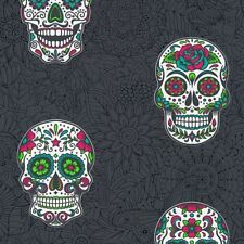 Skull Wallpaper Gothic Floral Black & Multicoloured Textured Vinyl AS Creation