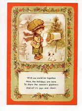Vintage Manhattan Christmas Greeting Card Victorian Boy Letter Mailbox 1980's