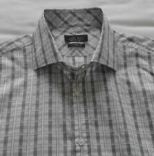 Men's Zara Work-School-Casual Shirt - White, Grey & Purple Check - 16.5''