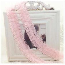 1/5/10 Yards Chiffon plain pleated gathered lace edging trim ribbon plisses