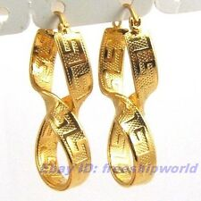 """1.57"""" REAL EXQUISITE 18K YELLOW GOLD GP HOOP EARRING GREEK KEY TWIST SOLID FILL"""