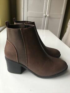 NEW LOOK Ladies Brown High Heeled Ankle Boots UK Size 6 Wide Fit BNWT