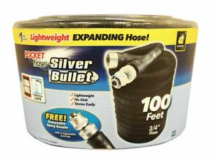 Pocket Hose Silver Bullet As Seen On TV 3/4 x 100ft L Expandg Black Garden Hose