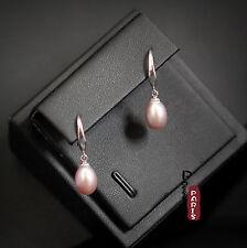 Boucles d`Oreilles Nacre Perle Culture Goutte Violet Argent Massif 925 8mm-9mm A