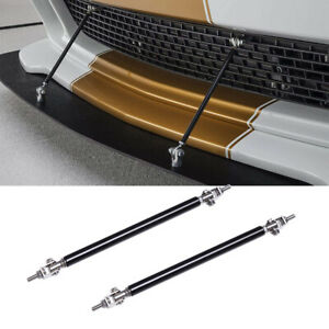"2X Adjustable 6""-11"" Black Front Bumper Lip Splitter Rod Strut Tie Bar Support"