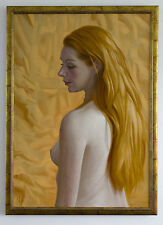 Original Framed Oil Painting Female Nude Girl Redhead Ginger Portrait Profile